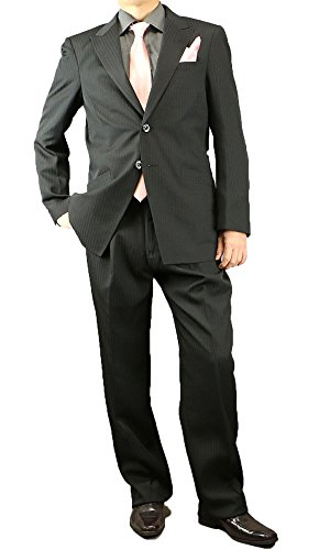 シングル スーツ ドレススーツ メンズ オールシーズン 結婚式パーティー 114811 1)黒 M