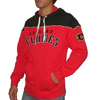 NHL Calgary Flames Mens Zip-Up Hoodie with embroidered logo Small red