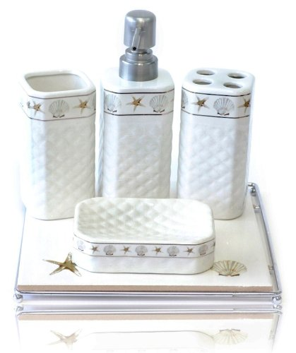 Luxury gifts inc 5 in 1 ceramic bathroom necessities for White and gold bathroom accessories