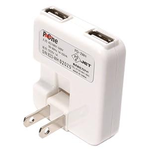 プロテック USB充電器 2ポート PD-2WH