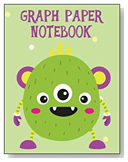 Graph Paper Notebook For Kids - A colorful and cute green monster makes a cute cover for this graph paper notebook for younger kids.