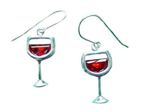 Sterling Silver Cubic Zirconia Glass Of Red Wine Earrings