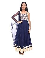 Ritu Creation Women's New Makhi Net Stitched Fancy Anarkali Suit With Half Yok Embrided Work