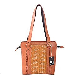 A&E Womens Sling Genuine Leather Kutchi Ethnic Cutwork Mustard Color Bags