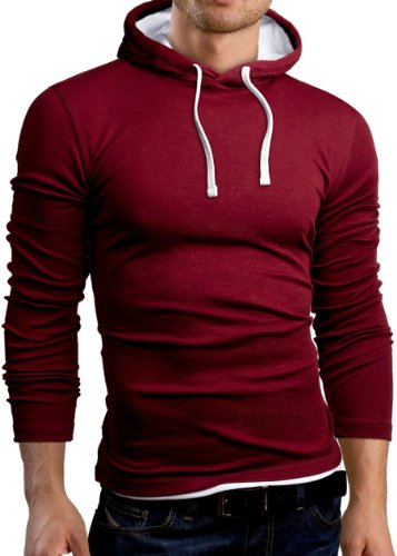 Grin&Bear Men's Slim Fit Longsleeve Hoodie, Long Sleeve, Burgundy, S, GB101