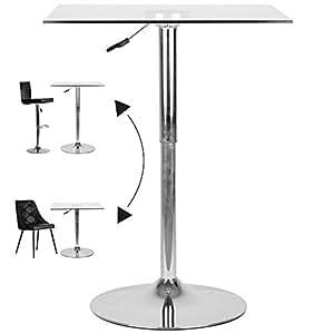 Table de bar carr e ajustable en verre x p 70 x h de 70 90 cm cuisine - Bar de cuisine en verre ...