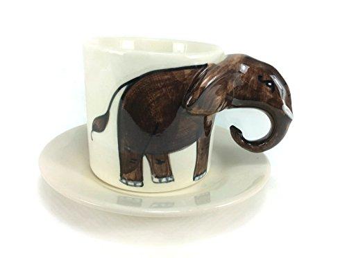 Elephant Tea Cup Enamel Cartoon Painted Milk Glass Coffee cup Cute Mug Anime Tea Cup Giant Mug Spirit Animal for Kid (Draw On Coffee compare prices)
