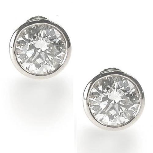 Clear 8CT TW C.Z. Bezel Set (.925) Sterling Silver Earring Studs (Nice Holiday Gift, Special Black Firday Sale)