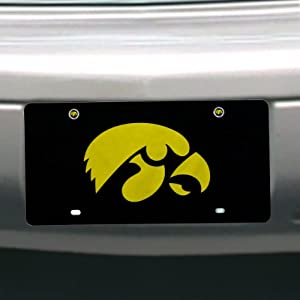 NCAA Iowa Hawkeyes License Plate with Screw Caps