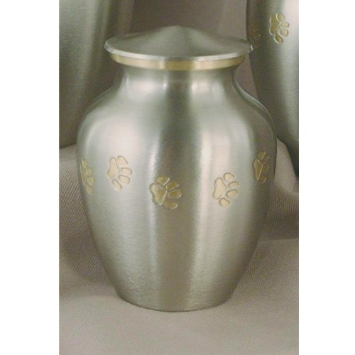 Pet Urn Paw Print Classic Pewter Pet Cremation Urn 85 Cubic Inches Up To 60lb Pet Weight