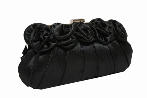 Black satin clutch bag with gentle pleats and satin flowers on the front