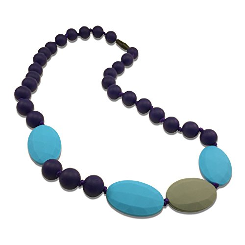 Teething Necklace for Mom to Wear - Baby Safe Silicone Teether 24 Inches Navy