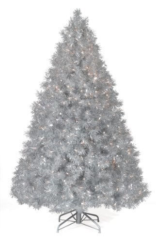 Christmas Tree Market Silver Tinsel Artificial Christmas Tree, 6 Feet, Clear Lights