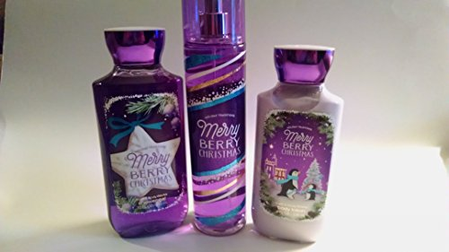 Bath and Body Works Holiday Traditions Merry Berry Christmas Gift Set 10 Oz Shower Gel, 8 Oz Body Lotion and 8 Oz Fragrance Mist