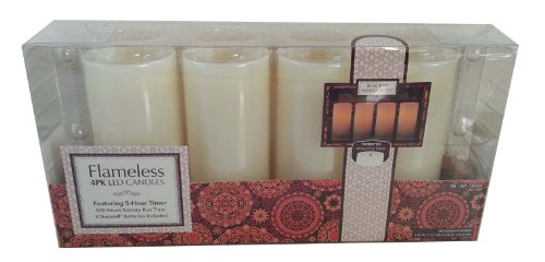 Wax Flameless LED Candles with Realistic Wick - 4 pack (Cream)