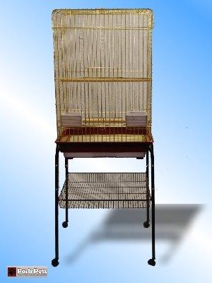 Cheap Zenda Stand Huge Gold Zenda Open Top Bird Cage With Stand (Black Stand) (830G)