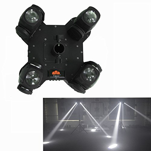 Yiscortm Stage Lighting Led Beam Light 80W White Color 4 Moving Heads Dmx512 For Club Home Garden Dj Disco Party Effect (Pack Of 1)