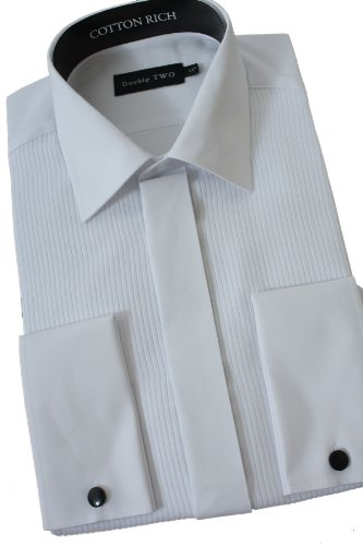 Mock Pleat Dress Shirt From Double Two 22inch Neck, White