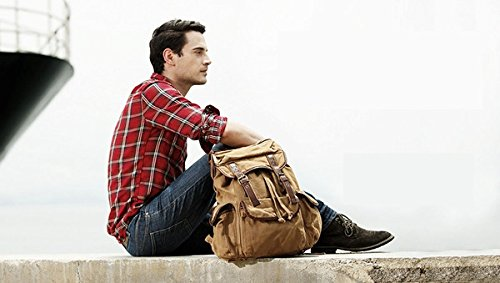 Serbags Vintage Canvas Leather Travel Rucksack Military Backpack - Light Brown 5