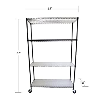 TRINITY 4-Tier NSF Wire Shelving Rack with Wheels and Liners, 48 by 18 by 72-Inch, Black