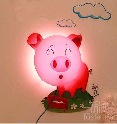 3d Cute Pig LED Wall Lamp Light W/diy Wallpaper Wall Stickers for Kids Bedroom