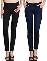 NGT Womens Formal Black And Navy Blue Trouser In Special Quality.
