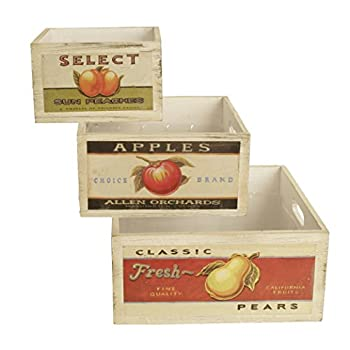 "Wald Imports Square Vintage Fruit Wood Crates (Set of 3), Natural, 10.25"""