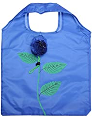 Rose Flowers Reusable Folding Protable Shopping Bag Travel Grocery Bags Tote (Blue)