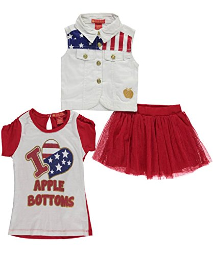 "Apple Bottoms Baby Girls' ""Patriotique"" 3-Piece Outfit - red/white, 18 months"