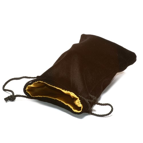 "5""X8"" Black Velvet Dice Bag with Gold Satin Lining"