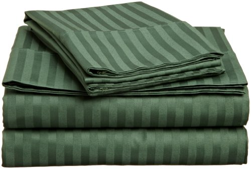 Impressions Genuine Egyptian Cotton 400 Thread Count Twin Xl 3-Piece Sheet Set Stripe, Hunter Green front-993412
