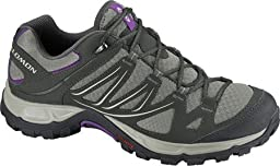 Salomon Women\'s Ellipse Aero W Hiking Shoe,Dark Titanium/Black/Anemone Purple,9 M US