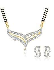 Sukkhi Beguiling Classy CZ Gold And Rhodium Plated Mangalsutra Set For Women