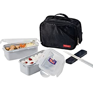 lock lock bento lunch box set w spoon fork insulated bag large hpl762db black. Black Bedroom Furniture Sets. Home Design Ideas