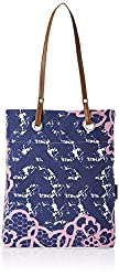 Kanvas Katha Women's Tote Bag (Blue and White) (KKST026W)