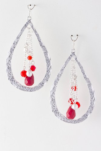 Baubles & Co Droplet Cut Out Bead Dangle Earrings (Red/Silver) front-1032877