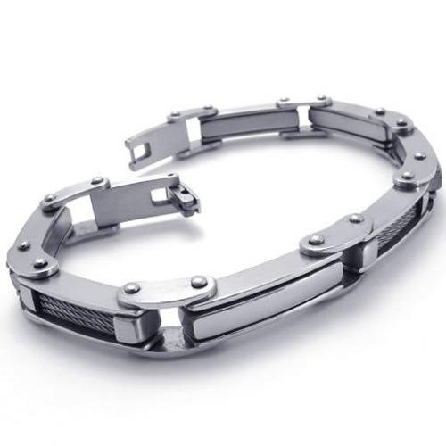 KONOV Jewelry Polished Stainless Steel Men's Link Bracelet Bangle - Silver - 8.5
