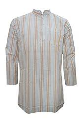 Indiatrendzs Men's Kurta Ethnic Wear White Orange Striped Cotton Kurta