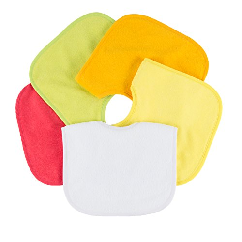 Waterproof Baby Bibs with Three Snaps, Unisex, 5 Pack, Solid Colors