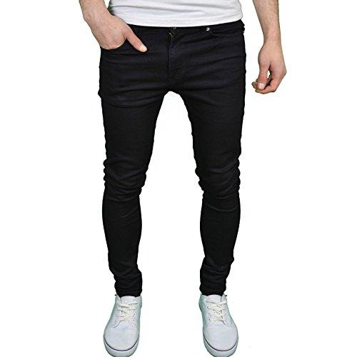 Enzo da uomo Designer marca Super elasticizzato Skinny Fit Jeans Black 40W x 32L