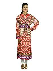 Kaarvaan Women's Georgette Unstitched Dress Material(C-513_Orange_FreeSize)