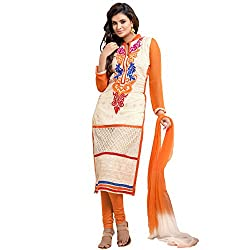 Ladli Creation Women's Georgette Semi Stitched Dress Material (LC_9002_Orange_Free Size)