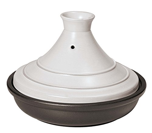 Paderno World Cuisine Ceramic White and Black Tagine, 0.60-Quart