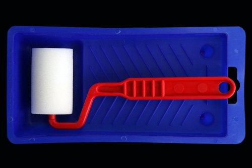 Lackroller Set: Wanne + Bügel + 5cm Schaum Lackrolle - Lackier Set - Lackrollen Set - Schaum Lackrollen Set