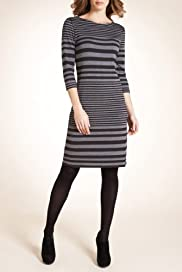 Autograph Slash Neck Stripe Dress [T50-3122-S]