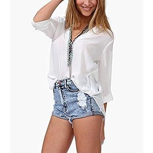ELINKMALL Sexy Womens V-neck T Shirt Casual OL Long Sleeve Chiffon Loose Tops Blouse