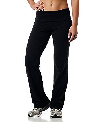 Alki'i Luxurious Cotton Lycra Fold over Yoga Pants, Black S