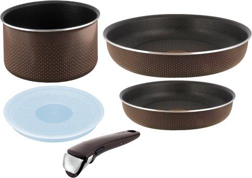 T-fal 鍋 フライパン セット 「インジニオ・ネオ」 取っ手の取れる ブラウンドット セット5 L04390