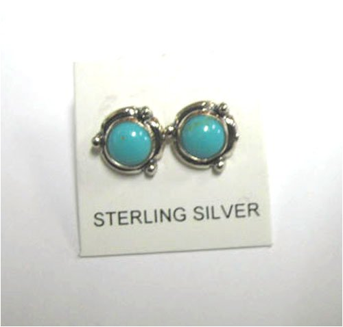 Native American Sterling Silver post/stud Earrings with Genuine Turquoise - Buy Native American Sterling Silver post/stud Earrings with Genuine Turquoise - Purchase Native American Sterling Silver post/stud Earrings with Genuine Turquoise (Roger Enterprises, Apparel, Departments, Accessories, Women's Accessories)