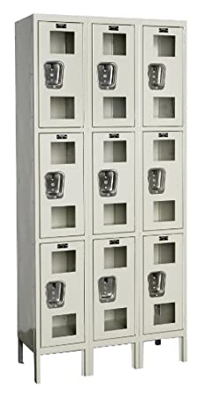 "Hallowell USV3288-3PT Safety-View Locker, 36"" Width x 18"" Depth x 78"" Height, Triple Tier, 3-Wide, Knock-Down, 729 Parchment"